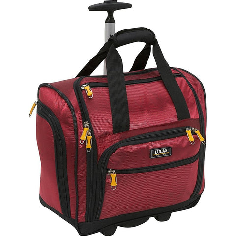 "famous wheeled under seat cabin bag 16"" - exclusive 3 colors soft side carry-on Luggage Red - strapsandbrass.com"
