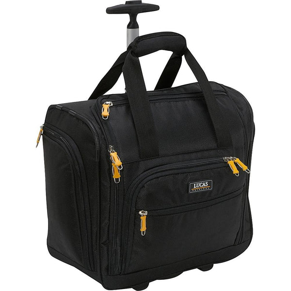 "famous wheeled under seat cabin bag 16"" - exclusive 3 colors soft side carry-on Luggage Black - strapsandbrass.com"