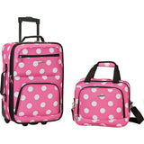 famous luggage riot 2 piece carry on luggage set 29 colors Luggage Pink dots - strapsandbrass.com