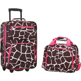 famous luggage riot 2 piece carry on luggage set 29 colors Luggage Pink Giraffe - strapsandbrass.com