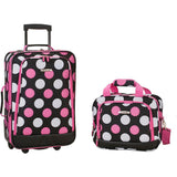 famous luggage riot 2 piece carry on luggage set 29 colors Luggage MultiPink Dot - strapsandbrass.com