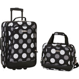famous luggage riot 2 piece carry on luggage set 29 colors Luggage New Black Dot - strapsandbrass.com