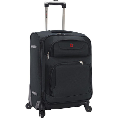 "famous travel gear expandable spinner luggage - 20"" soft side carry-on Luggage Gray with Black - strapsandbrass.com"
