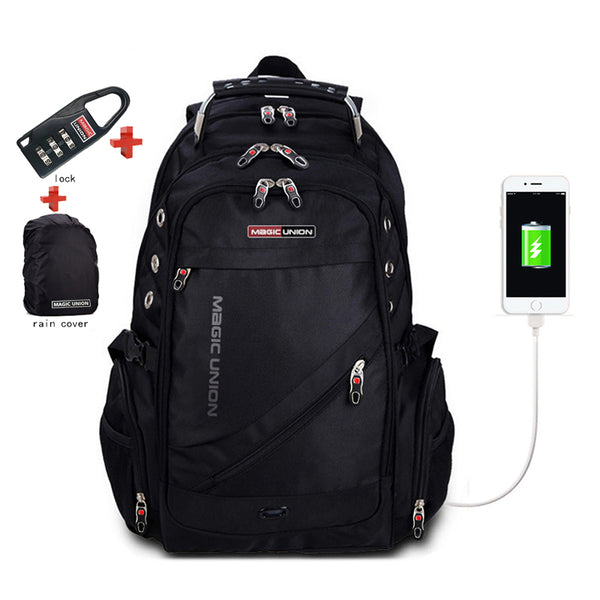 Backpack USB Charging & Anti-Theft<br> Canvas Backpack Black - strapsandbrass.com