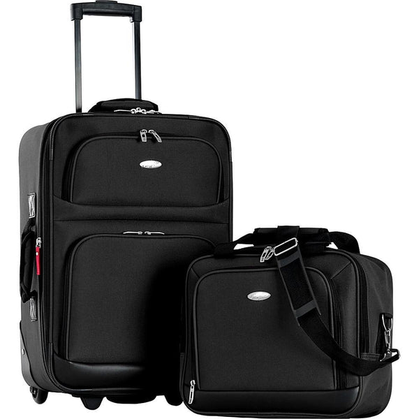 famous lets travel 2 piece carry on luggage set - Luggage Black - strapsandbrass.com