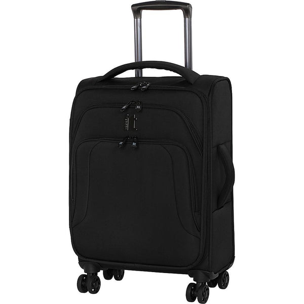 famous megalite vitality 8 wheel semi expander soft side carry-on Luggage Black with Gray - strapsandbrass.com