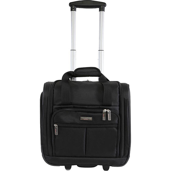 "famous under seat 15.5"" rolling tote carry-on soft side carry-on Luggage Black - strapsandbrass.com"