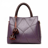 <bold>Tote / Crossbody Bag <br>Genuine-Leather Handbag Purple - strapsandbrass.com