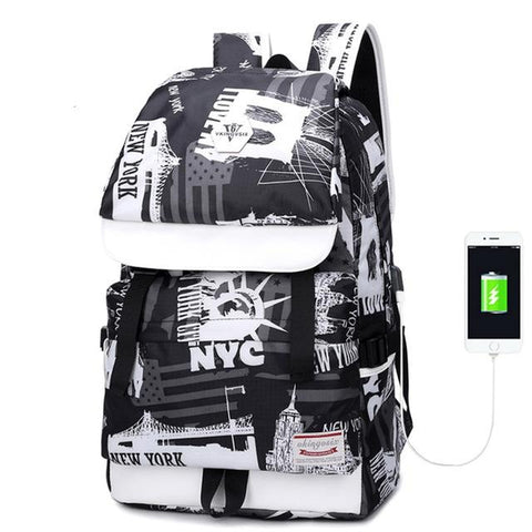 Backpack USB Charging<br> Oxford Backpack White - strapsandbrass.com