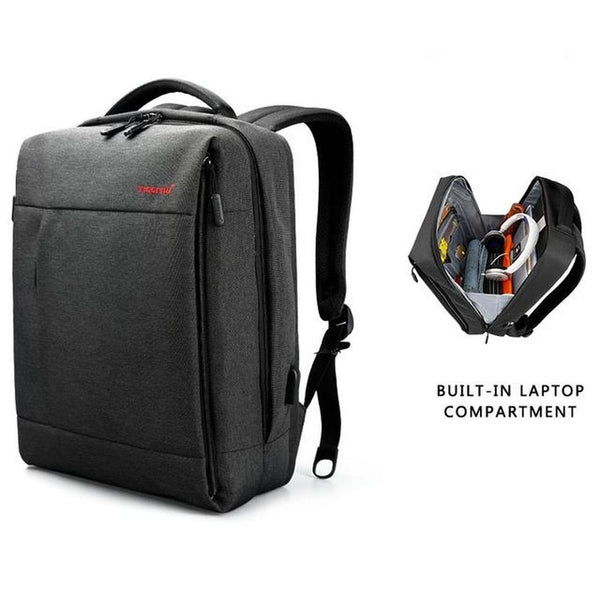 Backpack USB Charging & Anti-Theft <br> Oxford Backpack Black grey 15.6 inch - strapsandbrass.com