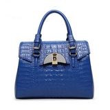 <bold>Top-Handle / Crossbody Bag <br>Genuine-Leather Handbag Blue - strapsandbrass.com