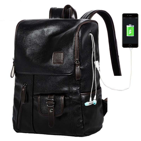 Backpack USB Charging <br> Vegan Leather Backpack  - strapsandbrass.com