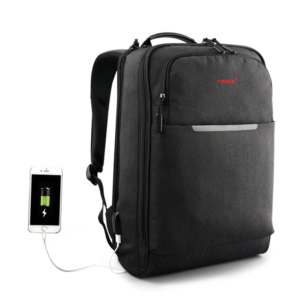 Backpack USB Charging & Anti-Theft <br>Oxford Backpack Black grey - strapsandbrass.com
