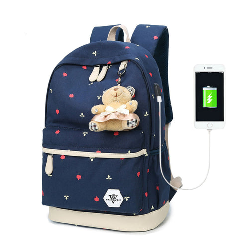 Copy of Backpack USB Charging <br> Canvas Backpack  - strapsandbrass.com
