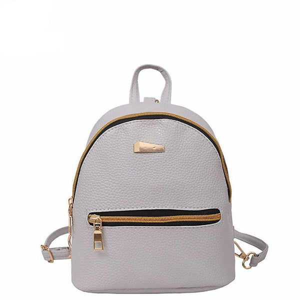 <bold>Youth Backpack <br>Vegan-Leather Fashion Backpack Gray backpack - strapsandbrass.com