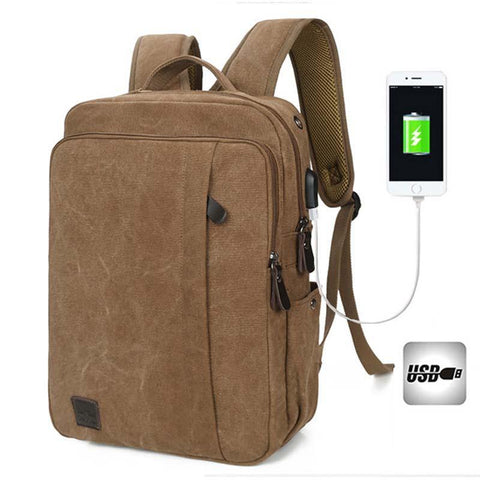 Backpack USB Charging & Anti-Theft <br> Canvas Backpack  - strapsandbrass.com