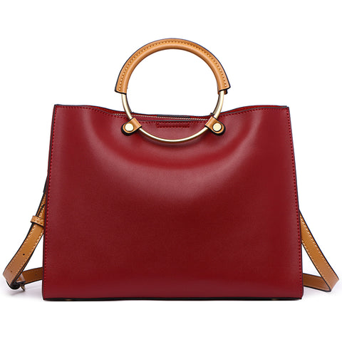 <bold>Top-Handle / Tote Bag <br>Genuine-Leather Handbag  - strapsandbrass.com