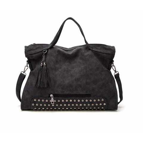 Messenger / Travel Bag  <br>Vegan-Leather Handbag Black - strapsandbrass.com