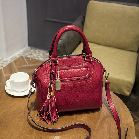 Top-Handle / Crossbody Bag  <br>Genuine-Leather Handbag Red - strapsandbrass.com
