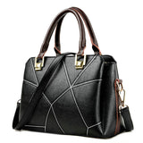 <bold>Top-Handle  / Crossbody Bag <br>Genuine-Leather Handbag Black - strapsandbrass.com