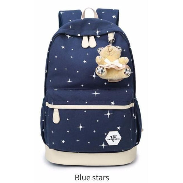 Backpack USB Charging <br> Canvas Backpack blue  stars - strapsandbrass.com