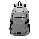 Backpack USB Charging <br> Canvas Backpack Light Grey - strapsandbrass.com