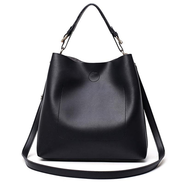 <bold>Bucket / Tote Bag  <br>Vegan-Leather Handbag Black - strapsandbrass.com