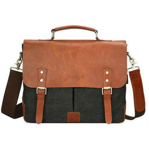 Messenger Bag | Briefcase <br> Genuine Leather | Canvas Handbag  - strapsandbrass.com