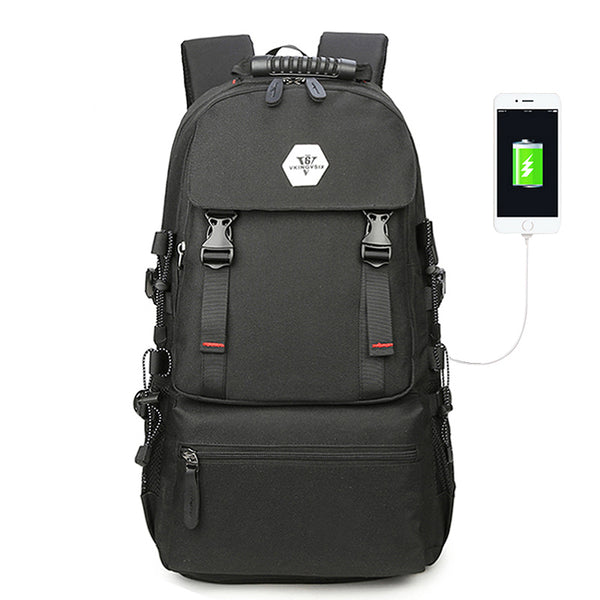 Backpack USB Charging<br> Oxford Backpack Black - strapsandbrass.com
