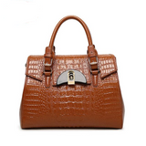 <bold>Top-Handle / Crossbody Bag <br>Genuine-Leather Handbag Brown - strapsandbrass.com