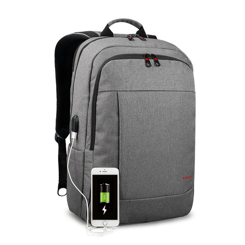 Backpack USB Charging & Anti-Theft <br> Oxford Backpack Grey - strapsandbrass.com