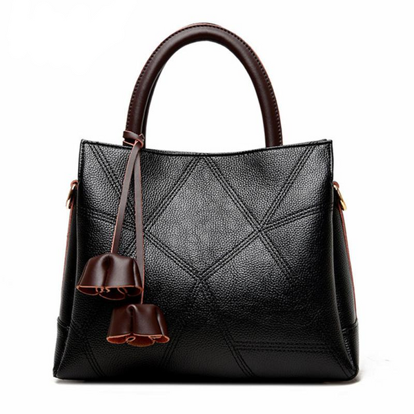 <bold>Tote / Crossbody Bag <br>Genuine-Leather Handbag Black - strapsandbrass.com