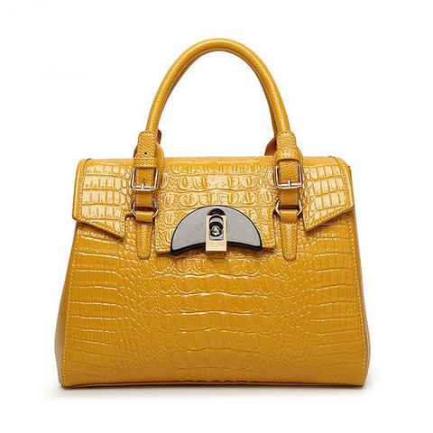 <bold>Top-Handle / Crossbody Bag <br>Genuine-Leather Handbag Yellow - strapsandbrass.com