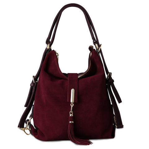 Hobo / Messenger Bag <br>  Real Split Suede Leather Handbag Dark purple / China - strapsandbrass.com