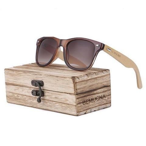 Handcrafted Sunglasses (Unisex) UV400 <br> Bamboo & Glass Sunglasses gbrown - strapsandbrass.com