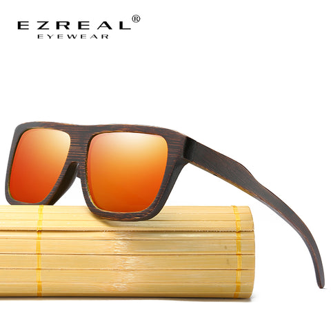 EZREAL Polarized Wood Sunglasses Layered Wooden Frame Square Style for Women Bamboo Sunglasses Men In Wood Box Sunglasses  - strapsandbrass.com