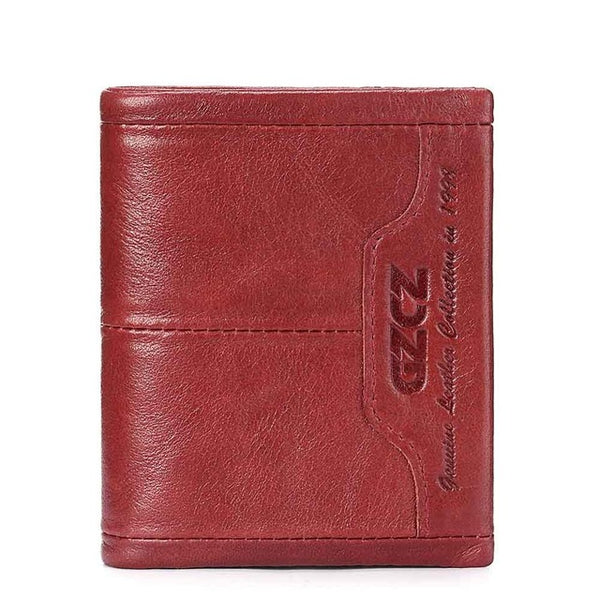 Wallet (RFID Blocking) <br> Genuine Leather Wallet Red - strapsandbrass.com