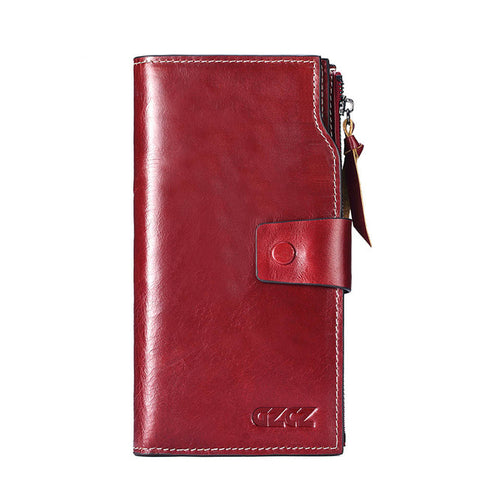 Wallet (RFID Blocking) <br> Genuine Leather Wallet Red-L - strapsandbrass.com