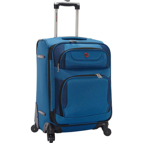 "famous travel gear expandable spinner luggage - 20"" soft side carry-on Luggage Blue with Black - strapsandbrass.com"
