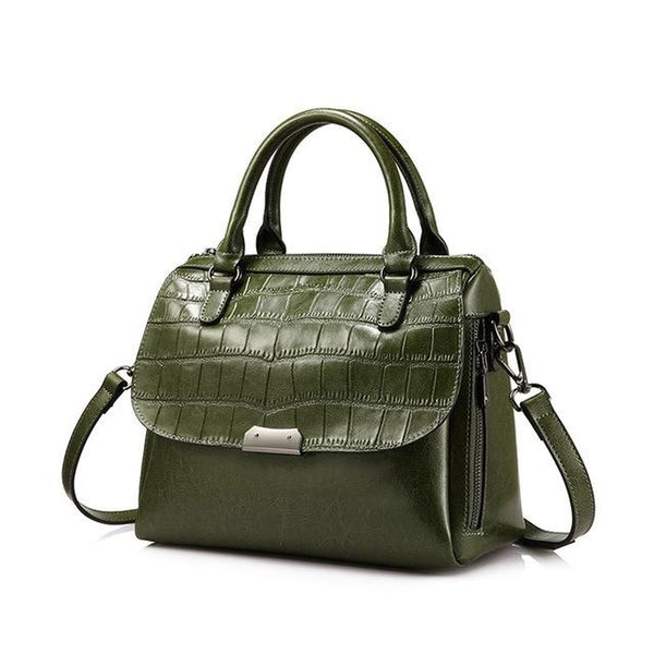 <bold>Top-Handle  / Shoulder Bag  <br>Vegan-Leather Handbag Army Green - strapsandbrass.com