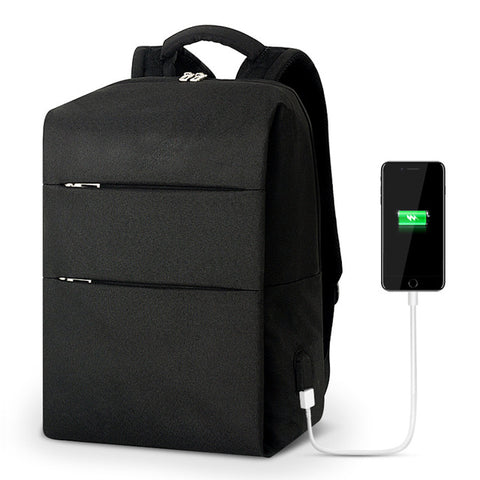 Backpack USB Charging <br> Canvas Backpack BLACK - strapsandbrass.com