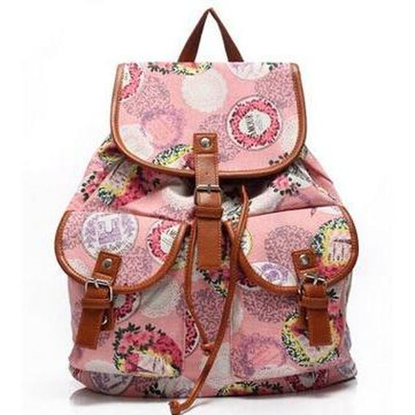 <bold>Fashion Backpack <br>Canvas Fashion Backpack B Pink backpack - strapsandbrass.com