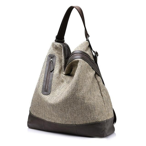 <bold>Hobo / Shoulder Bag  <br>Vegan-Leather Handbag Beige - strapsandbrass.com