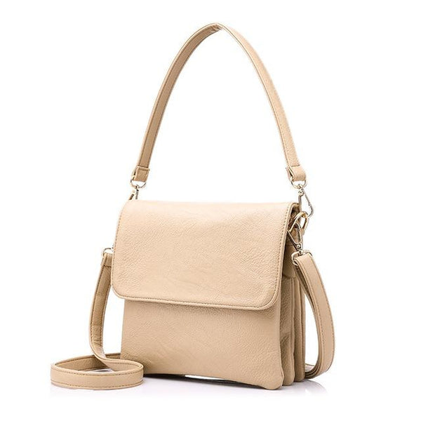 <bold>Messenger  / Shoulder Bag  <br>Vegan-Leather Handbag Beige - strapsandbrass.com