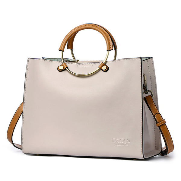 <bold>Top-Handle / Tote Bag <br>Genuine-Leather Handbag Beige - strapsandbrass.com