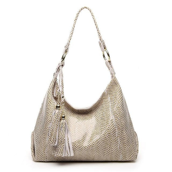 <bold>Hobo / Tote Bag  <br>Genuine-Leather Handbag Beige - strapsandbrass.com