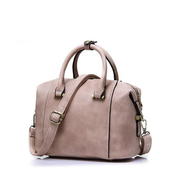 <bold>Top-Handle  / Crossbody Bag  <br>Vegan-Leather Handbag Beige - strapsandbrass.com