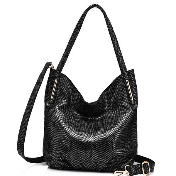 <bold>Hobo  / Tote Bag <br>Genuine-Leather Handbag Black Gray - strapsandbrass.com