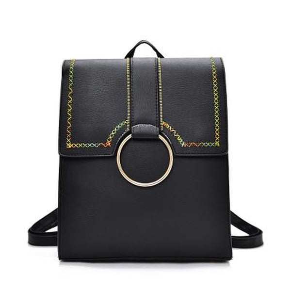 <bold>Fashion Backpack  <br>Vegan-Leather Handbag Black - strapsandbrass.com