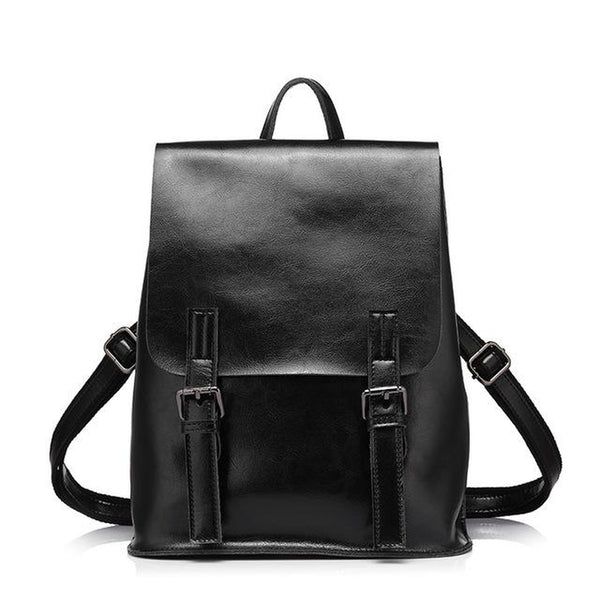 <bold>Fashion Backpack <br>Genuine-Leather Handbag Black - strapsandbrass.com